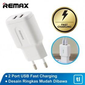 Remax Dual USB Charger Fast Charging 2.4A 12W EU Plug - RP-U22 - White