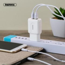 Remax Dual USB Charger Fast Charging 2.4A 12W EU Plug - RP-U22 - White - 2