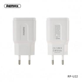 Remax Dual USB Charger Fast Charging 2.4A 12W EU Plug - RP-U22 - White - 3