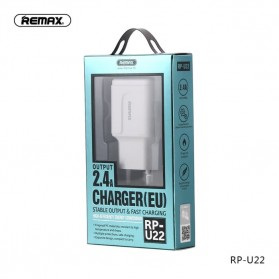 Remax Dual USB Charger Fast Charging 2.4A 12W EU Plug - RP-U22 - White - 5