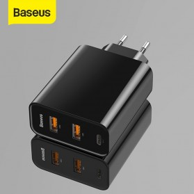 Baseus Charger USB 3 Port QC3.0 60W + Type C PD Charging EU Plug - CCFS-G01 - Black