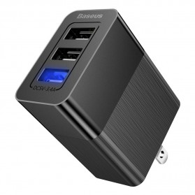 Baseus Travel Charger USB Fast Charging 3 Port 3.4A - CCALL-GJ01 - Black