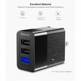 Baseus Travel Charger USB Fast Charging 3 Port 3.4A - CCALL-GJ01 - Black - 3