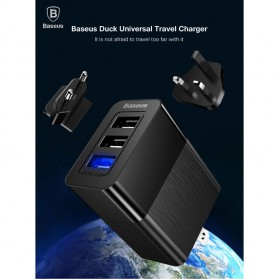 Baseus Travel Charger USB Fast Charging 3 Port 3.4A - CCALL-GJ01 - Black - 4