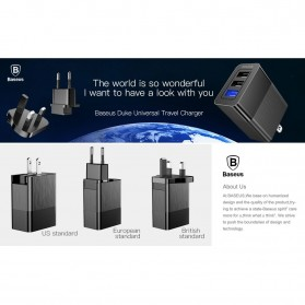 Baseus Travel Charger USB Fast Charging 3 Port 3.4A - CCALL-GJ01 - Black - 7