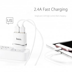 Hoco C12A USB Charger 2 Port 2.4A dengan Kabel Lightning - White - 2