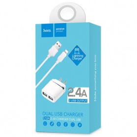 Hoco C12A USB Charger 2 Port 2.4A dengan Kabel Lightning - White - 4