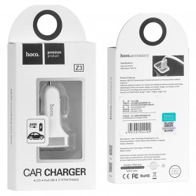 HOCO Z3 Charger Mobil 2 Port 3.1A Fast Charging - Z3-2U - White - 11