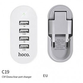 Hoco Duoma USB Charger 4 Port 4.8A EU Plug - C19 - White