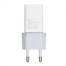 Hoco Fast USB Charger Adaptor 3 Port 2.4A - C20 - White - 4