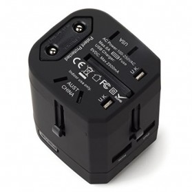 Loop Universal Adapter 4 in 1 US UK EU AU Plug with USB Port - GN-U303U - Black - 4