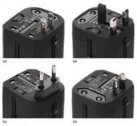 Loop Universal Adapter 4 in 1 US UK EU AU Plug with USB Port - GN-U303U - Black - 6