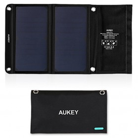Aukey Portable Solar Charger 2 Panel 14W 2 Port - PB-P3 - Black