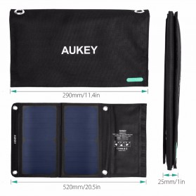 Aukey Portable Solar Charger 2 Panel 14W 2 Port - PB-P3 - Black - 2