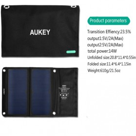 Aukey Portable Solar Charger 2 Panel 14W 2 Port - PB-P3 - Black - 3