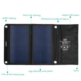 Aukey Portable Solar Charger 2 Panel 14W 2 Port - PB-P3 - Black - 4
