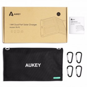 Aukey Portable Solar Charger 2 Panel 14W 2 Port - PB-P3 - Black - 5