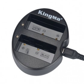 KingMa Charger Baterai Travel + 2 x Baterai for Olympus EM1 Mark II - BLH1 - Black - 3
