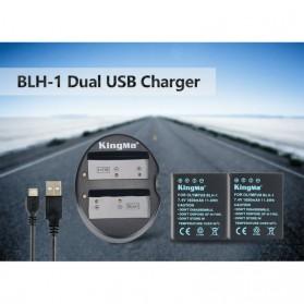KingMa Charger Baterai Travel + 2 x Baterai for Olympus EM1 Mark II - BLH1 - Black - 4