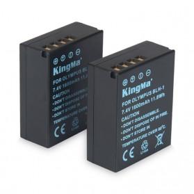 KingMa Charger Baterai Travel + 2 x Baterai for Olympus EM1 Mark II - BLH1 - Black - 5