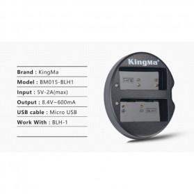 KingMa Charger Baterai Travel + 2 x Baterai for Olympus EM1 Mark II - BLH1 - Black - 6
