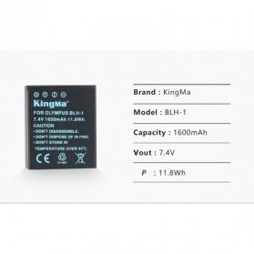 KingMa Charger Baterai Travel + 2 x Baterai for Olympus EM1 Mark II - BLH1 - Black - 7