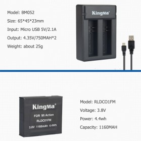 KingMa Charger Baterai Travel + 2 x Baterai for Xiaomi Mijia 4K - RLDC01FM - Black - 4