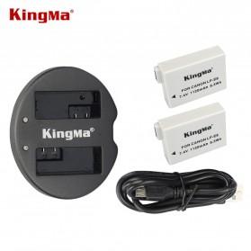 KingMa Dual Charger + 2 Baterai LP-E8 Canon T2i T3i EOS 550D 600D 650D - Black