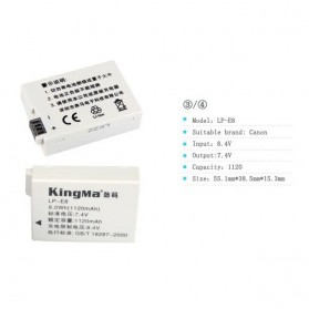 KingMa Dual Charger + 2 Baterai LP-E8 Canon T2i T3i EOS 550D 600D 650D - Black - 10