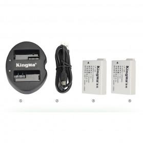 KingMa Dual Charger + 2 Baterai LP-E8 Canon T2i T3i EOS 550D 600D 650D - Black - 8