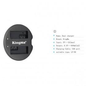 KingMa Dual Charger + 2 Baterai LP-E8 Canon T2i T3i EOS 550D 600D 650D - Black - 9