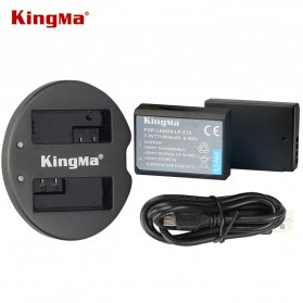 KingMa Dual Charger + 2 Baterai LP-E10 Canon EOS 1100D 1200D Kiss 50X Rebel T3 - Black
