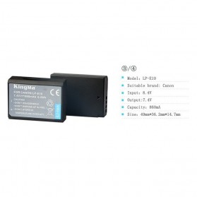 KingMa Dual Charger + 2 Baterai LP-E10 Canon EOS 1100D 1200D Kiss 50X Rebel T3 - Black - 10