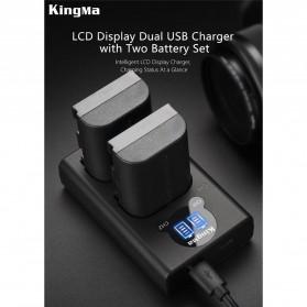 KingMa Dual Charger BM048 + 2 Baterai LP-E6 Canon EOS 6D 5D 60D 70D 80D - Black - 6