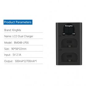 KingMa Dual Charger BM048 + 2 Baterai LP-E6 Canon EOS 6D 5D 60D 70D 80D - Black - 7
