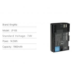 KingMa Dual Charger BM048 + 2 Baterai LP-E6 Canon EOS 6D 5D 60D 70D 80D - Black - 8
