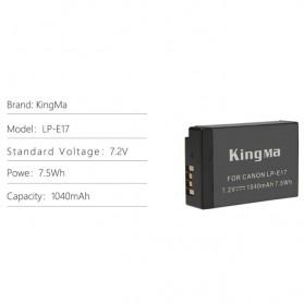 KingMa Dual Charger BM048 + 2 Baterai LP-E17 Canon EOS 77D M3 M5 M6 Rebel T6i T7i 750D - Black - 8