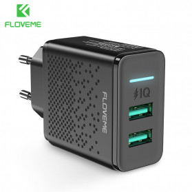 Floveme Charger USB Fast Charging 2 Port 2.4A - GC-08 - Black