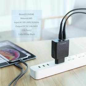 Floveme Charger USB Fast Charging 2 Port 2.4A - GC-08 - Black - 6