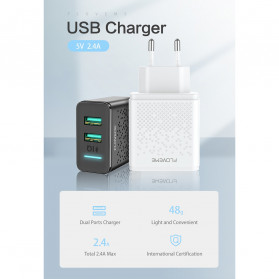 Floveme Charger USB Fast Charging 2 Port 2.4A - GC-08 - Black - 7