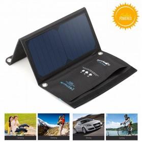 BlitzWolf Portable Solar Charger 2 Panel 15W 2A 2 Port - BW-L2 - Black