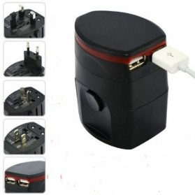 Universal Travel Adapter 4 in 1 EU UK USA Plug with 1A USB Port - Tech-4261 - Black