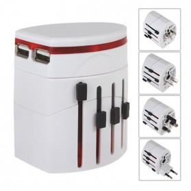 Universal Travel Adapter 4 in 1 EU UK USA Plug with 1A USB Port - White