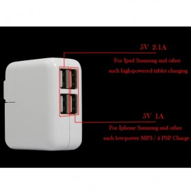 USB Charger with LED Charging Display 4 Port - 1044 - White - 3