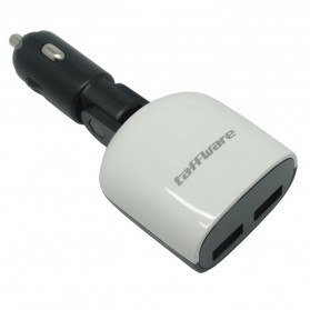 Taffware Smart Car Charger Dual USB with LCD - XBX018 - Black White - 2