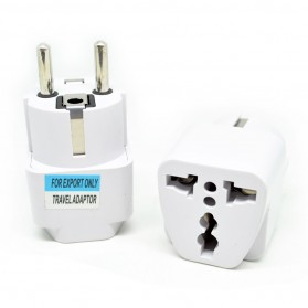 Universal EU 2 Round Plug Adapter to 3 Pin Plug - White