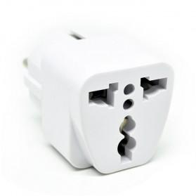Universal EU 2 Round Plug Adapter to 3 Pin Plug - White - 2