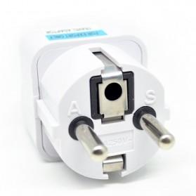 Universal EU 2 Round Plug Adapter to 3 Pin Plug - White - 3