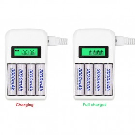 LANDFOX Super Quick Battery Charger 4 Slot for AA / AAA NiCd NiMH - C907W - White - 4
