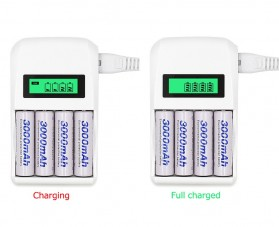 LANDFOX Super Quick Battery Charger 4 Slot for AA / AAA NiCd NiMH - C907W - White - 8